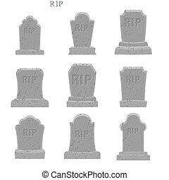 Tomb set. Ancient RIP. Collection of gravestones. Grave on white background