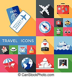 Travel Shadowed Icon Set - Travel long shadow icon set in...