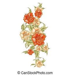 vertical, vendange, jaune,  roses, fleur,  bouket