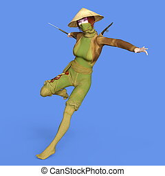 Kung-Fu girl - 3D CG rendering of a Kung-Fu girl