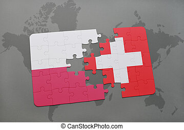 puzzle with the national flag of poland and switzerland on a world map background.