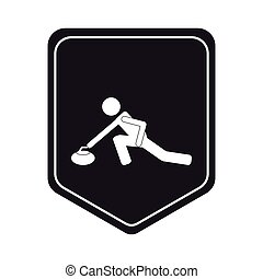 curling pictogram icon shield emblem