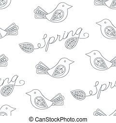 Spring seamless pattern with birds