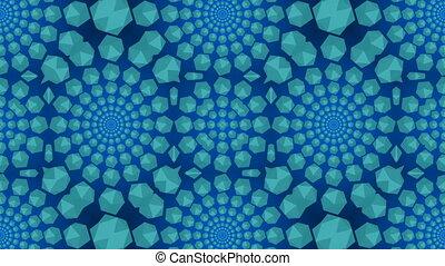 Blue lights kaleida background. Seamless loop