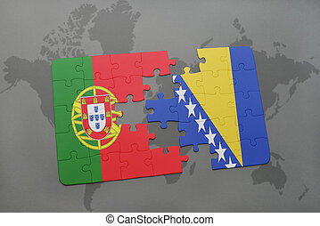 puzzle with the national flag of portugal and bosnia and...