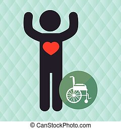 silhouette person heart wheelchair