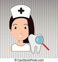 nurse tooth search medical vector illustration eps 10
