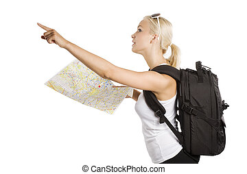 blond pointing finger at - cute blond tourist girl with map...