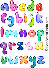 Bubble small letters - Colorful bubble-shaped small letters...