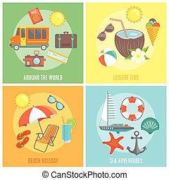 Summer Isolated Icon Set - Four isolated colorful icon set...