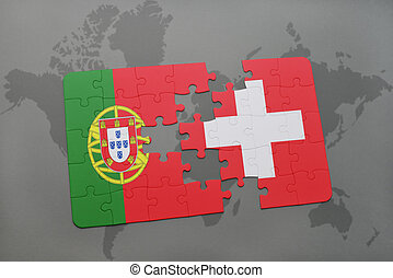 puzzle with the national flag of portugal and switzerland on a world map background.