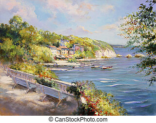 colorful seascape oil painting - colorful seascape painting,...