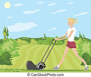 mowing the lawn - a hand drawn illustration of a woman...