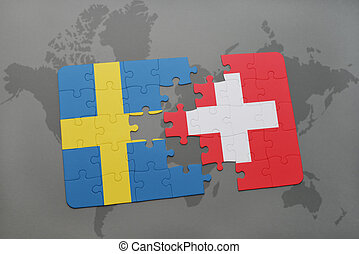 puzzle with the national flag of sweden and switzerland on a world map background.
