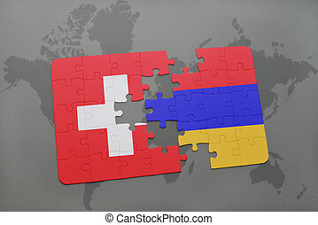 puzzle with the national flag of switzerland and armenia on a world map background.