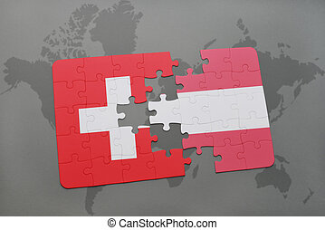 puzzle with the national flag of switzerland and austria on a world map background.