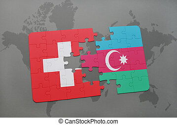 puzzle with the national flag of switzerland and azerbaijan on a world map background.