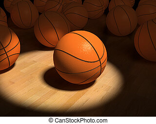 basketball items - basketball ball over the hardwood floor...