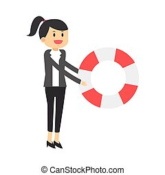 business woman with life preserver icon - flat design...