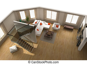 modern flat interior - modern interior on the top view...