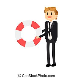 businessman with life preserver icon - flat icon businessman...