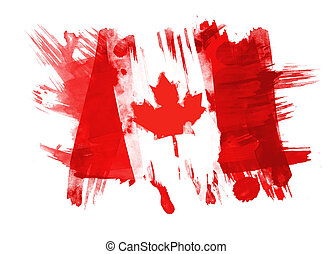 Canada Flag painted in White Background
