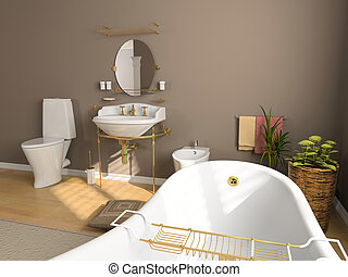 bathroom interior - modern bathroom interior (3d rendering)