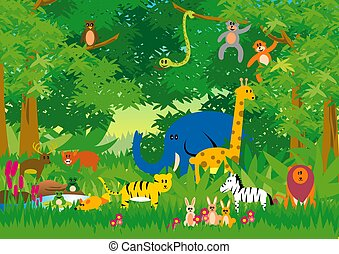Jungle in Cartoon - Animals illustration using a very simple...