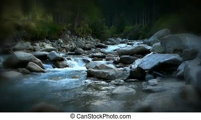 River running from the Alps Austria Krimml