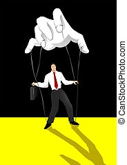 Control - Puppet master controlling a businessman