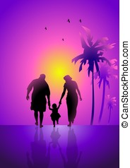 Family Vacation - An illustration of a family walking under...