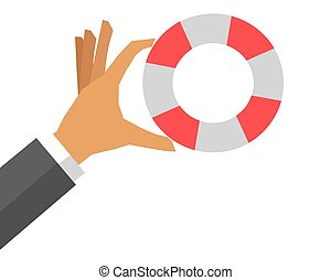 hand holding life preserver icon - flat design hand holding...