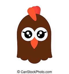 cute chicken cartoon icon - flat design cute chicken cartoon...