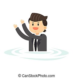 businessman in water icon