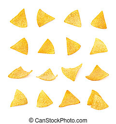 Single corn tortilla chip isolated - Single yellow corn...