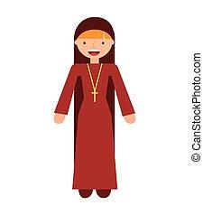 nun woman religion icon vector isolated design
