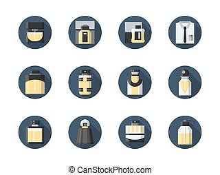 Perfume for men round flat vector icons set - Perfume and...