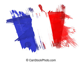 フランス, 旗, ペイントされた, 白, 背景