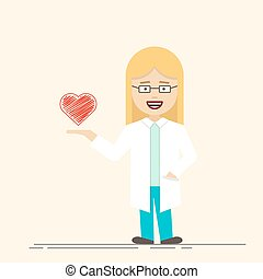 Female doctor or nurse with heart in her hand. Medical...