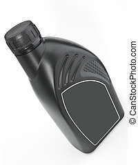 The bottle of motor oil - The black plastic bottle of motor...