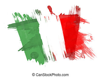 Italy Flag painted in White Background