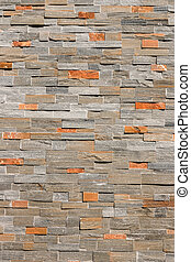 natural stone veneer wal - closeup of natural stone veneer...