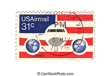 old postage stamp from USA Airmail - 31 cent