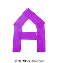 Letter symbol made of insulating tape pieces, isolated over...