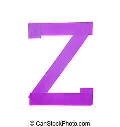 Letter Z symbol made of insulating tape pieces, isolated...
