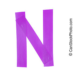 Letter N symbol made of insulating tape pieces, isolated...