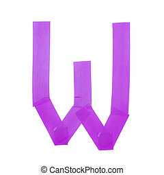 Letter W symbol made of insulating tape pieces, isolated...