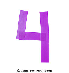 Number four symbol made of insulating tape isolated over the...