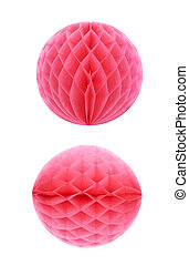 Honeycomb pom-pom ball decoration isolated - Red honeycomb...