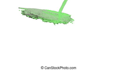 green liquid flow covers a surface in slow motion